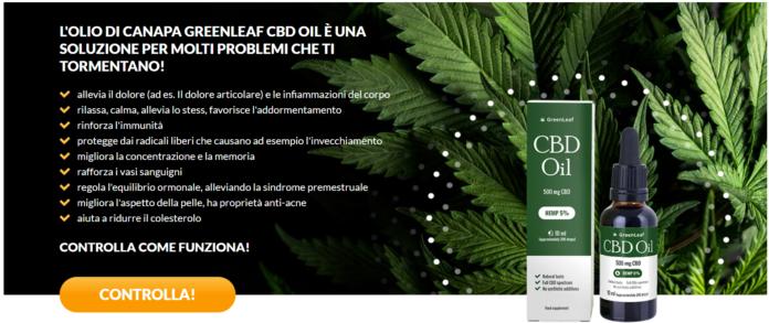CBD Oil della GreenLeaf: olio alla Canapa con effetto antidolorifico e rilassante, funziona davvero? Recensioni, opinioni e dove comprarla